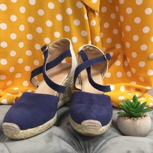 Cobalt blue and tan Cordani Wedges
